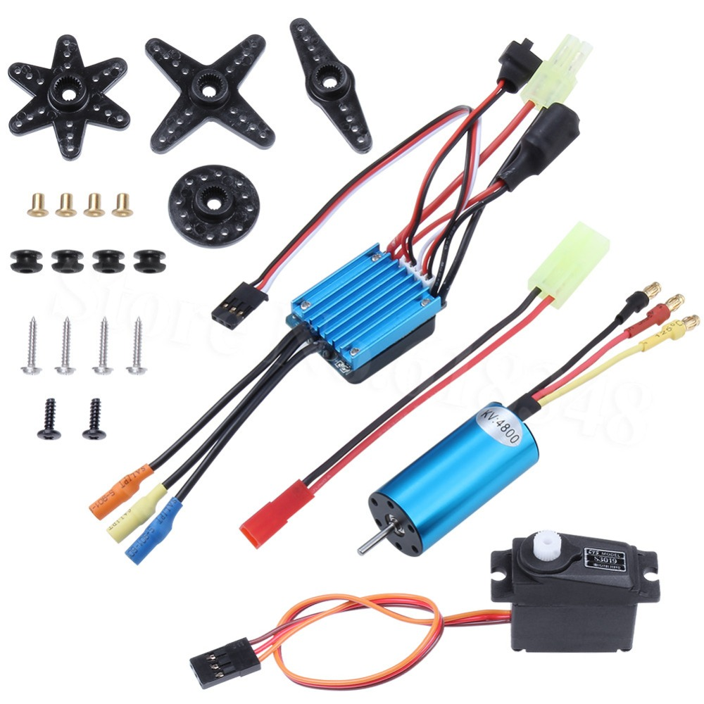 4800KV Brushless Motor Kit & 25A ESC + Servo For WLtoys 1/18 RC Car A959 A949 A969 A979 K929 Upgrade Parts Replacement 12t 15t 24t 38t metal front rear differential motor driving gear upgrade parts two sets for wltoys a949 a959 1 18 rc car