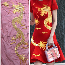 1Pcs Super Large Golden Sequin Dragon Applique Chinese Embroidered Patches Mesh Fabric Sewing On Clothing Dress Patch Diy