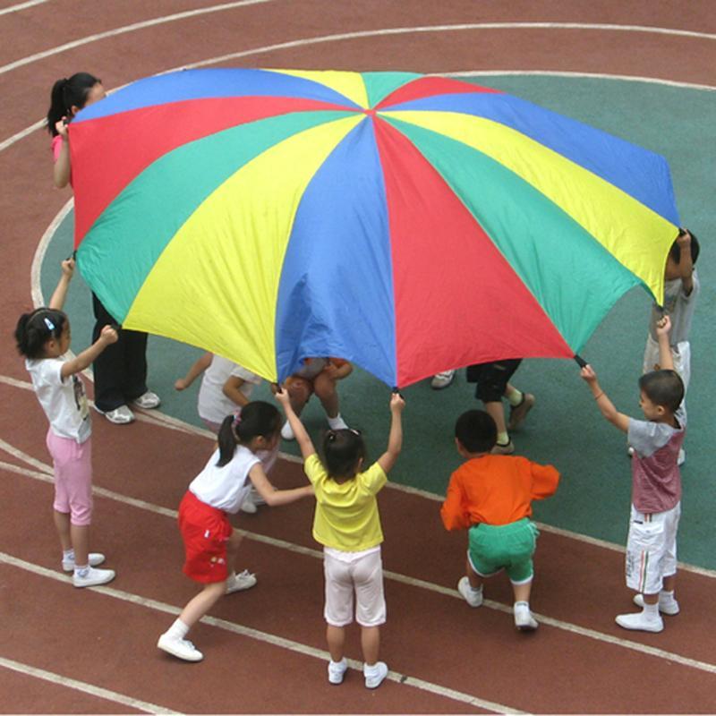 Crianças dia 2 m arco-íris guarda-chuva pára-quedas brinquedo crianças esportes ao ar livre jogos jogar brinquedo do bebê colorido salto-saco ballute pára-quedas