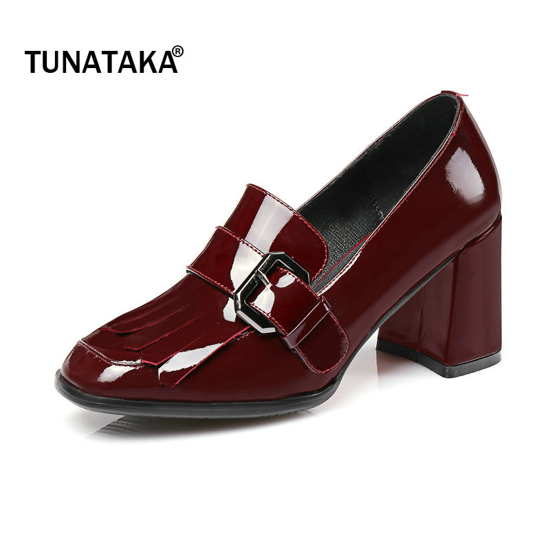 Genuine Leather Comfort Square High Heel Woman Lazy High Heel Shoes Fashiob Bow Knot Dress Pumps Woman Shoes Black Wine Red woman comfort sqaure heel fur genuine leather pumps fashion pointed toe dress lazy high heel shoes woman black wine red