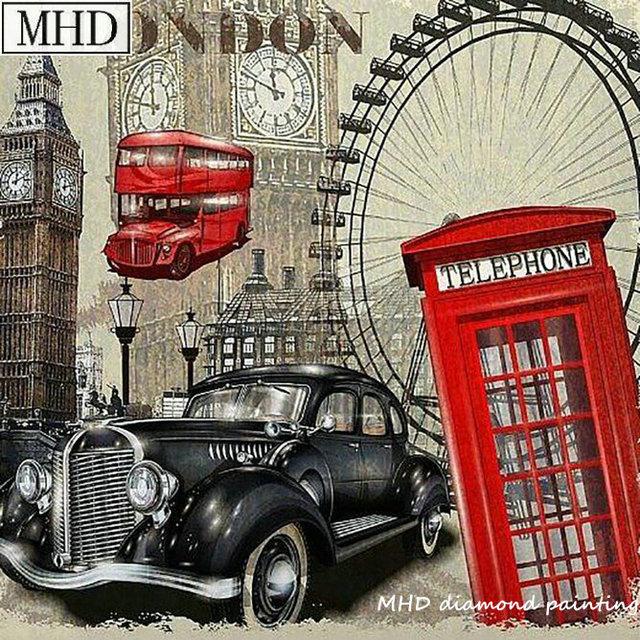 5d diy diamond painting London landscape car phone booth full square round kit diamond embroidery rhinestone room decoration art
