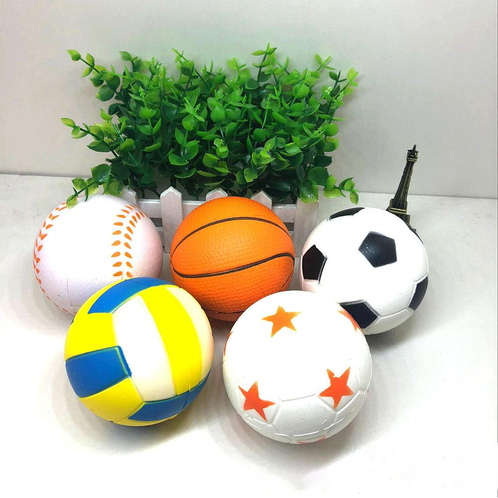 Cute PU Simulation Football Volleyball Softball Basketball Ball Toy Slow Rising Squishy Stress Relieve Squeeze Toys Gifts Zk30