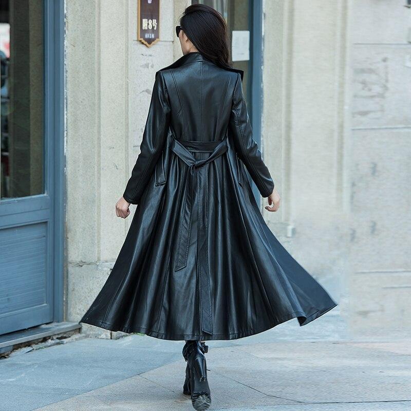 XS-4XL/5XL/6XL7XL/8XL Plus Size Woman Leather Jackets Single Breasted Slim Elegant Outwear Turn-down Collar PU Leather Overcoat