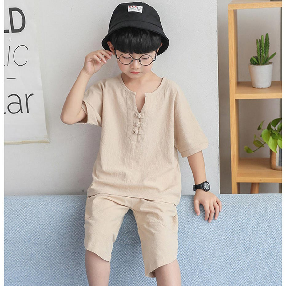 clothes for boys soft cotton shirt  short 2pcs suit for