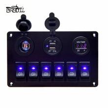 цена на USB Charging ABS 12V 24V 6 Gang Rocker Switch Panel Dual USB Waterproof Circuit Blue LED Car Marine Boat Control Switch