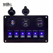 USB Charging ABS 12V 24V 6 Gang Rocker Switch Panel Dual USB Waterproof Circuit Blue LED Car Marine Boat Control Switch(China)