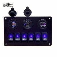 USB Charging ABS 12V 24V 6 Gang Rocker Switch Panel Dual USB Waterproof Circuit Blue LED Car Marine Boat Control Switch