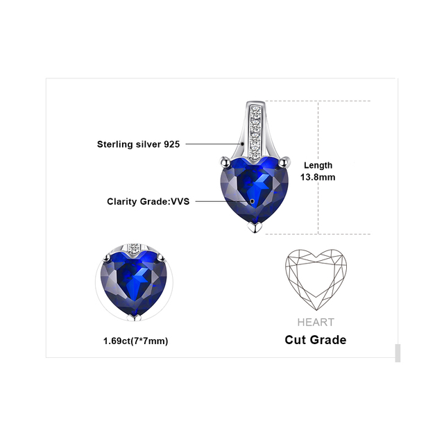 1.7 ct Created Blue Sapphire Heart Pendant  4