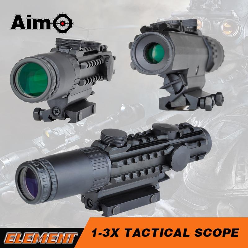 Visée AIrsoft 1-3x28 lunette de visée jaune illuminé télémètre réticule Air chasse portée pour fusils de chasse AO3033
