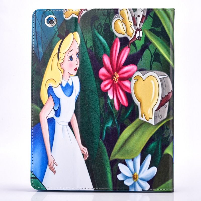 2016 New Tablet Case for Apple ipad 4 / 3 / 2 Flip stand Alice in wonderland & the Little Mermaid prints Cover shell coque para  2016 new tablet case for apple ipad 4 3 2 flip stand alice in wonderland