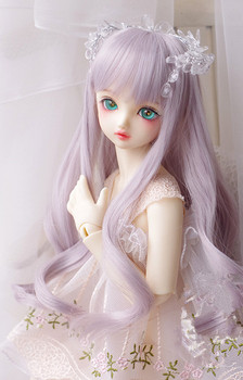 High temperature wire long curly hair gray purple color available for 1/6 1/4 1/3 BJD SD DD MDD doll accessories mystery mdd 7900ds