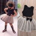 Комплект одежды младенца девочка рукавов черный топы туту leopard лук юбки 2 шт. сладкий костюмы новорожденные дети наряды