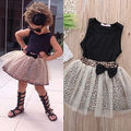 baby clothing set baby girl sleeveless black tops tutu leopard bow skirt 2pcs sweet suits newborn kids outfits