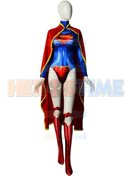 The New Supergirl Spandex Printing Female Superhero Cosplay Costume With Cape Custom available