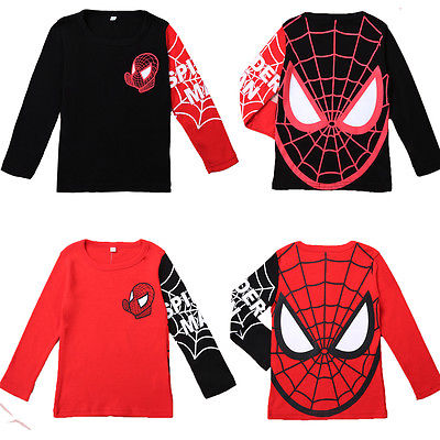 Cool Children Clothes Baby Kids Boys Spiderman Pullover Tops negros / rojos Camiseta de manga larga Sudadera para 2-8Y