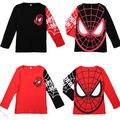 Crianças fresco Roupas de Bebê Crianças Meninos Spiderman Pulôver Preto/Vermelho Tops Manga Longa T-Shirt Camisola Para 2-8A