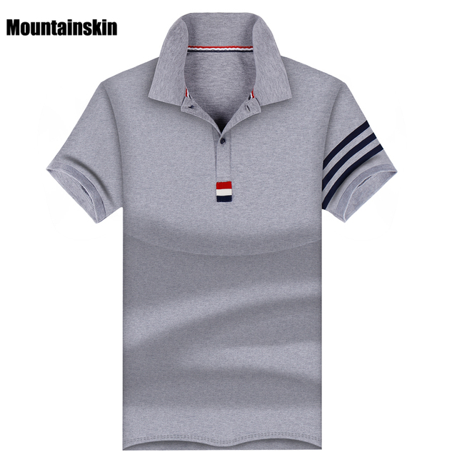Mountainskin 2017 Summer Men's Casual Polos Cotton Slim Short -Sleeve Polo Shirts Turn-Down Collar England Style Men Polos,SA190