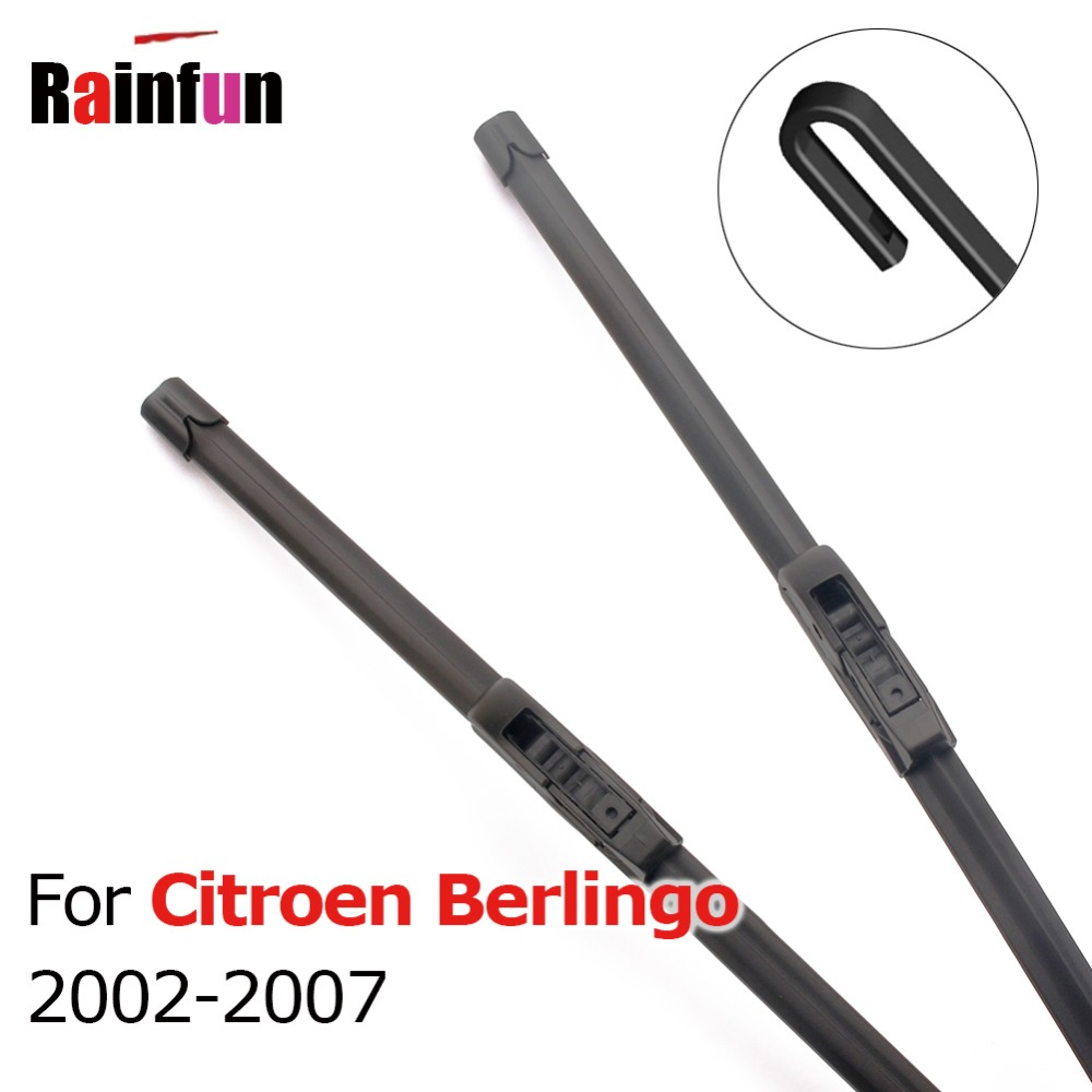 RAINFUN Car Front Wiper Blade for <font><b>Citroen</b></font> <font><b>Berlingo</b></font> 2002 2003 <font><b>2004</b></font> 2005 2006 2007 High Quality Windshield Wipers 22 & 22 inches image