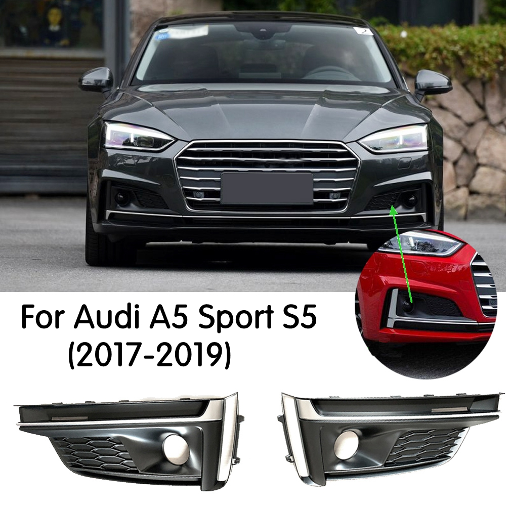 Areyourshop 1Pair Chrome Front Fog Lamp Light Cover Trim Decorate Frame For Au-di B8 A4 09-12