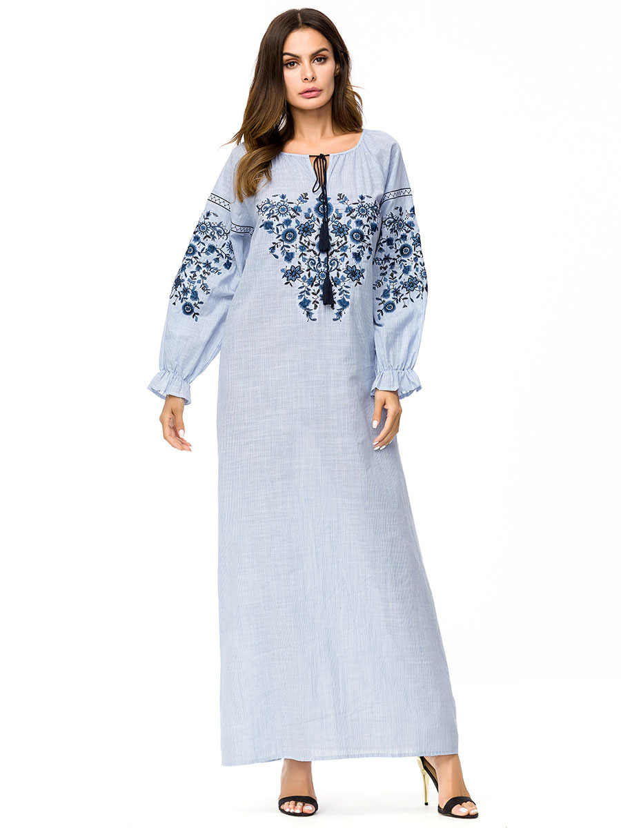 ... Casual Embroidery Abaya Maxi Dress Ankle-Length Simple Plus Size Kimono  Loose Long Robe Gowns ... 2f02372d4