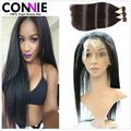 360 Lace Frontal With Bundles 7A Straight Brazilian Virgin Hair Bundles With 360 Frontal Band Lace Closure Natural Hairline