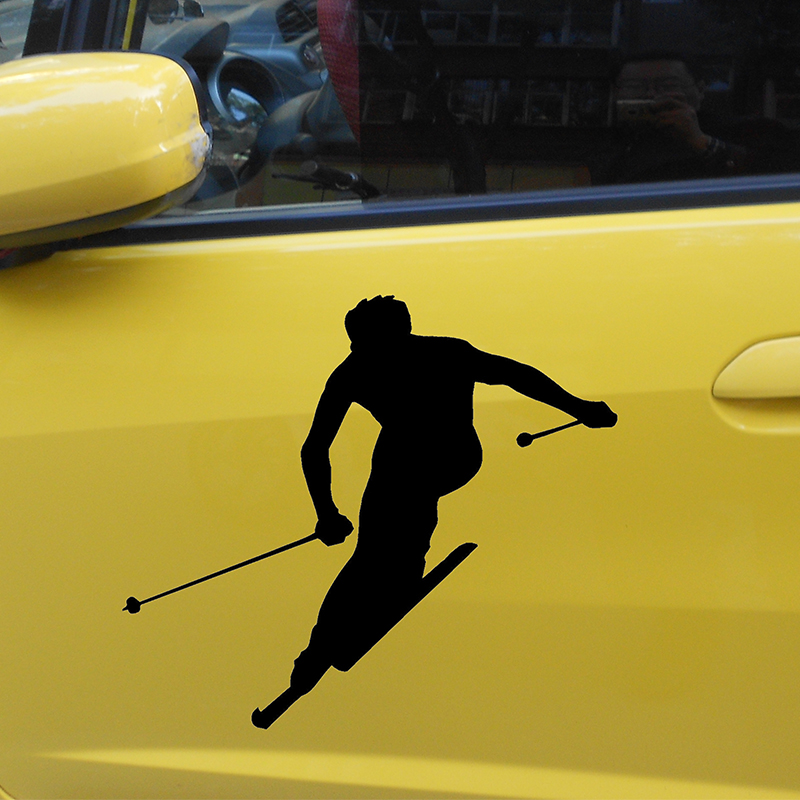 2X 2017 hot car-styling Ski Sticker Skier Silhouette Sports Car Sticker For Cars Door Side Truck Window RearVinyl Decal JDM the lonely skier