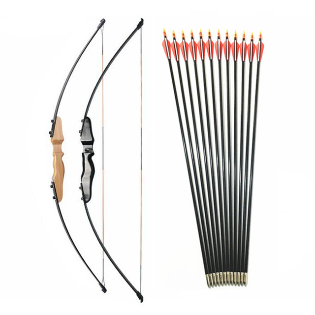 30-40lbs Straight Bow Split 51 Inches  And fiberglass Arrow For Children Youth Archery  Shooting  Kids Bow 1