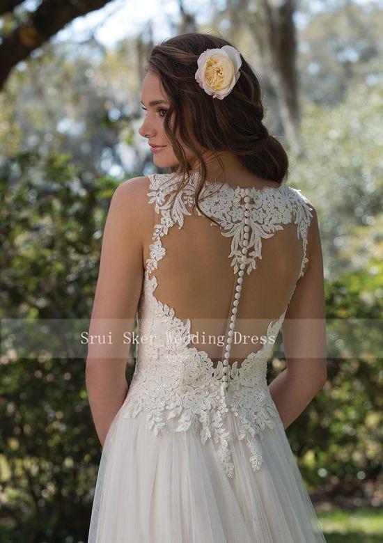 Image 3 - Charming V Neck A Line Lace Wedding Dress White/Ivory Illusion Back Tulle Wedding Bridal Gowns Long Dress-in Wedding Dresses from Weddings & Events