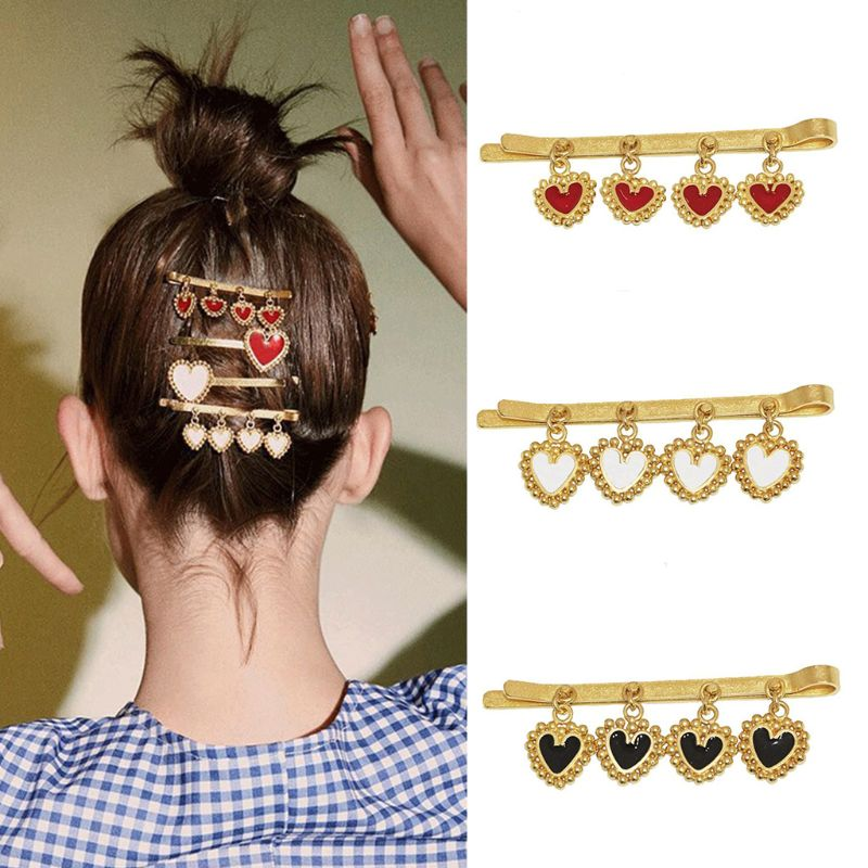 European Punk Style Women Girls Hair Clips Drop Oil Heart Pendant Charms Hairpins Side Bangs Posterior Hair Styling Accessories in Women 39 s Hair Accessories from Apparel Accessories