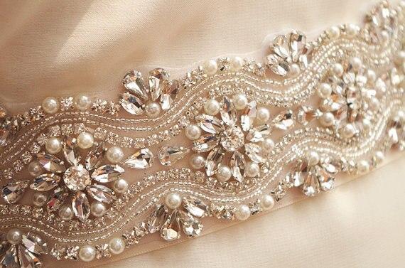 b614624dd5 Aliexpress.com: Compre Swarovski crystal pearl e crystal bead Applique,  cinto de noiva, nupcial sash Applique, rhinestone bead belt para o  casamento ...