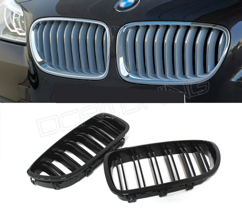 Dual Slats ABS Front Grille For BMW 5 M Series F10 / F10 M5 2010 2011 2012 2013 2014 2015 - on Glossy Black Finish for bmw 5 series f10 2010 2011 2012 2013 2014 2015 2016 dual slat abs