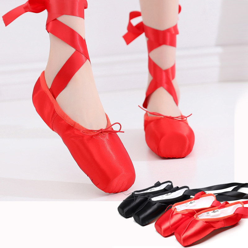 New Silk Ballet Dance Pointe Toe Shoes Pointe Silk Ribbon Shoes Toe Pad Girls Red Professional Ballet Shoe For Black Swan Ballet High Quality Goods