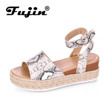 Fujin Pop Summer New Fish Mouth Shoes Dropshipping Women Bottom Large Code Leopard Pattern Linen Buckle Thick Sandals