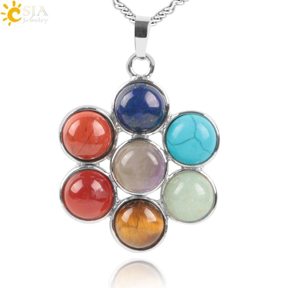 Чсжа 7 Чакры, натуральные камни, Reiki, целительное украшение, кулон цветок жизни, ожерелье, украшения для йоги, подвеска амулет E036
