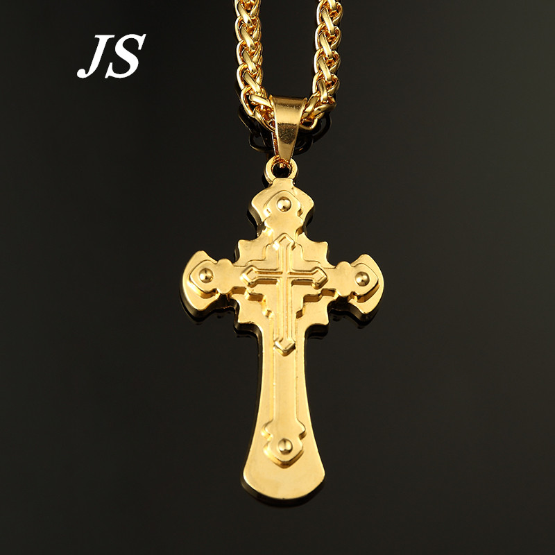 ER Corrente de Ouro 24K Golden Cross Necklace Colar Masculino Male Hip Hop Cool Cuban Go ...