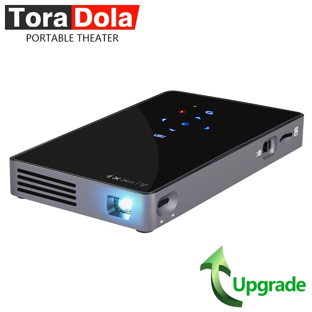 Tora Dola mini projecteur D5S, Portable Théâtre Construit en Android WIFI Bluetooth HDMI 5000 batterie mah Mise À Niveau P8I projecteur led