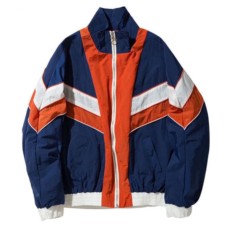 Hip Hop Streetwear Neutral Casual Men's Bomber Jackets Women Vintage Multicolor Color Block Patchwork Windbreaker Jackets M-XL