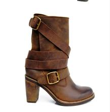 Women Autumn Winter Genuine Leather Retro Shoes Thick High Heel Buckle Round Toe New Arrival Fashion Mid Calf Boots Plus Size 40