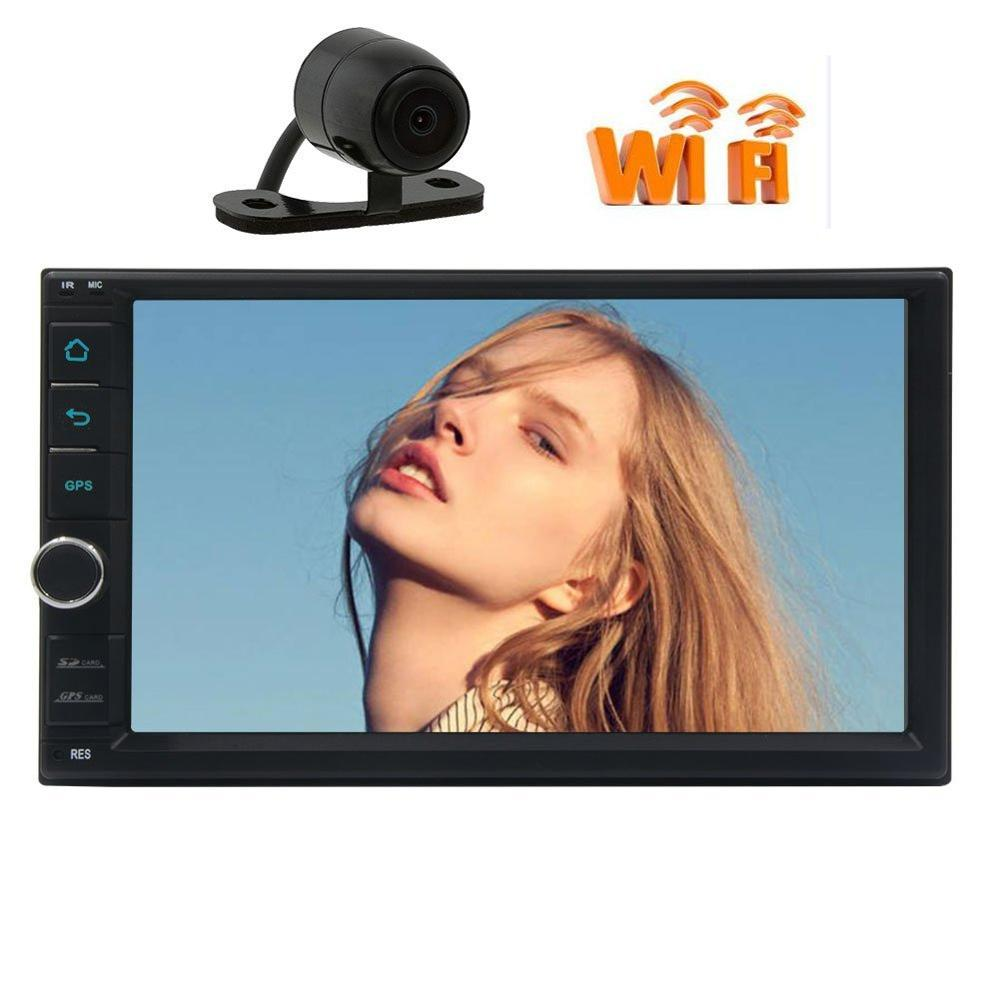 Caméra + Android 6.0 voiture gps stéréo Autoradio pour Double 2 DIN Audio vidéo récepteur tête unité support Wifi 3G/4G Dongle 1080 P OBD2