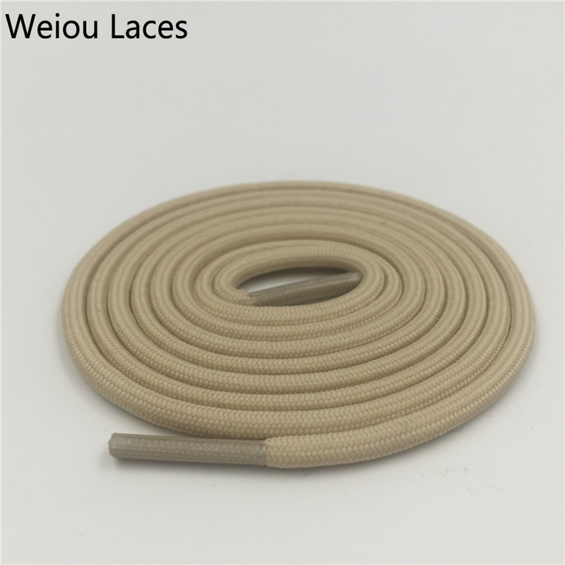Offical Weiou 7mm Flat Round Apricot Tubular Lace Hiking Shoelace Ribbon Replacement Shoe Laces Polyester Bootlace Kith Style