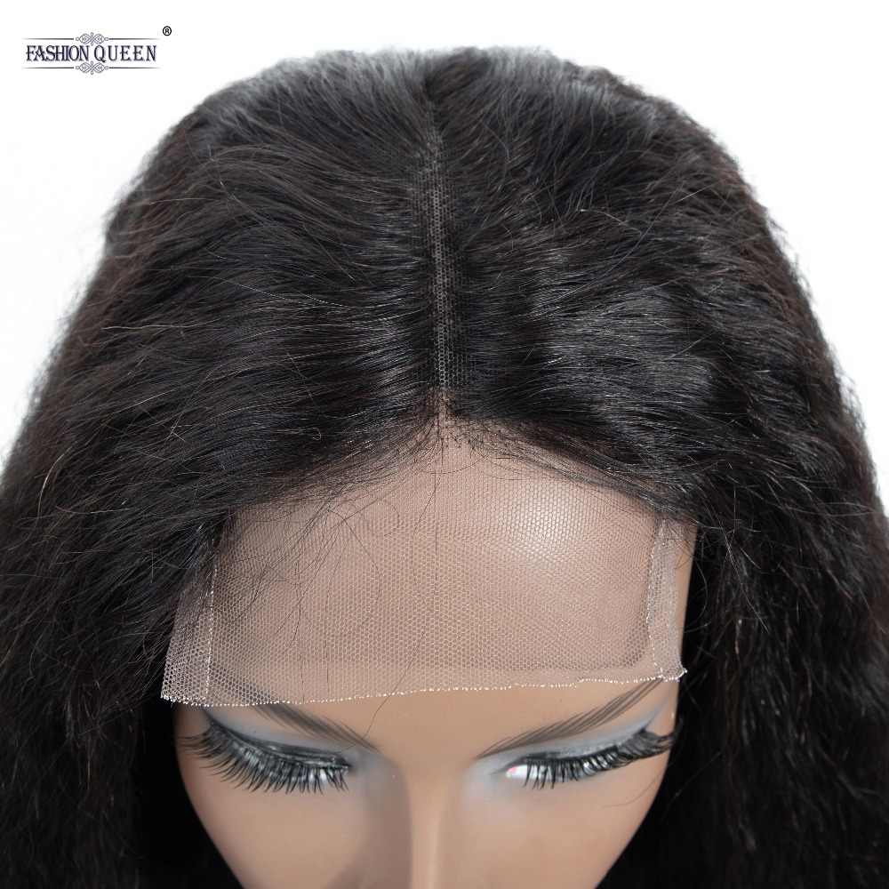 Peruvian Human Hair Wigs with Baby Hair Remy Kinky Straight Lace Wigs Brazilian 4*4 Lace Closure Wigs