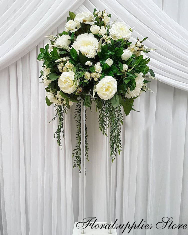 wedding : Wholesale Acrylic Flower Vase Clear Flower Vase Table Centerpiece Marriage Luxury Floral Stand Columns For Wedding Decoration