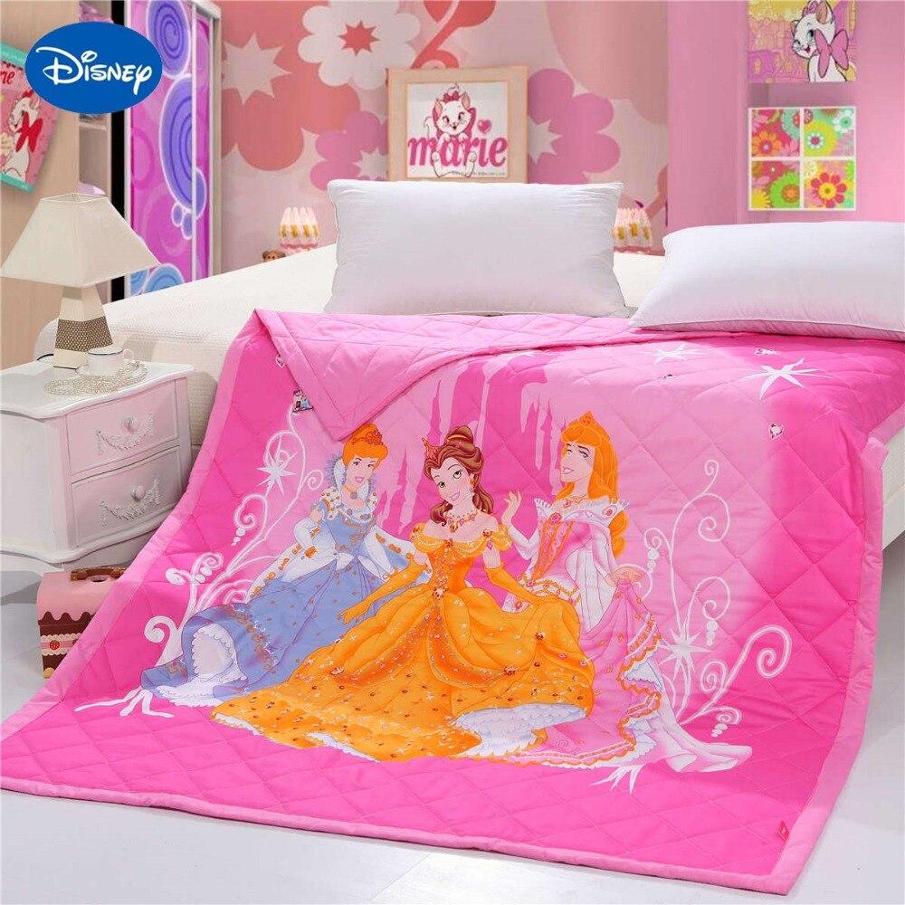 Disney princesse été courtepointes couette literie simple jumeau coton lit propagation couverture 3D imprime dessin animé chambre décor filles ensemble