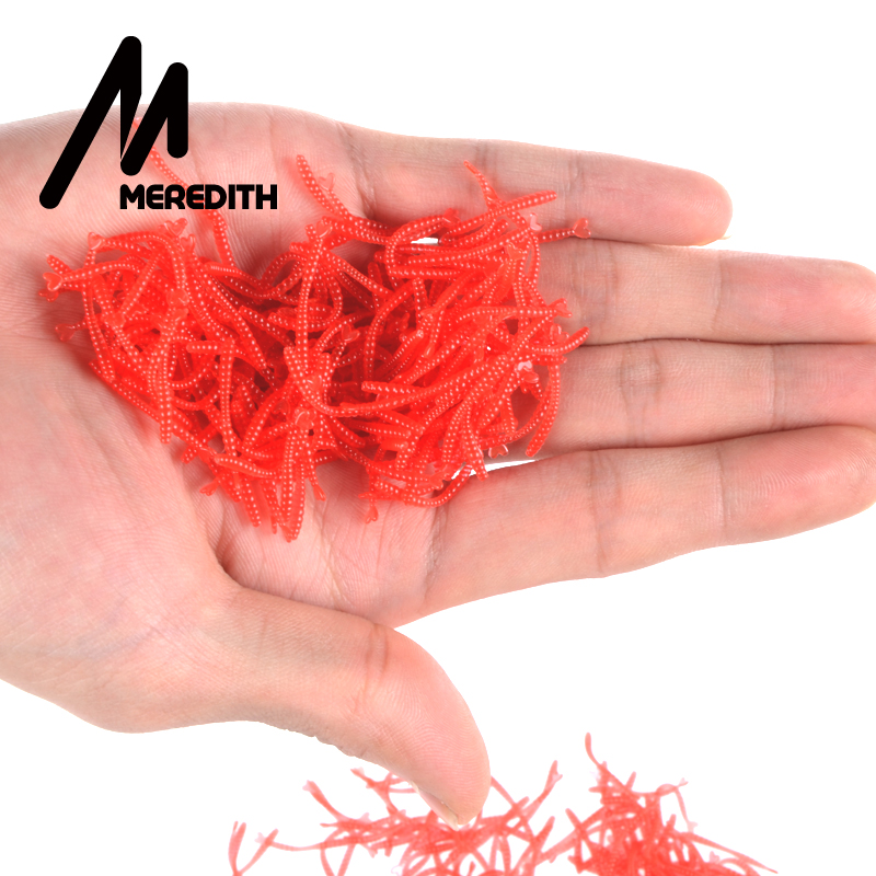 Meredith 1000pcs Smell Red Worm Lures 2cm Hot-selling  Soft Bait Carp Fishing Lure Set Artificial Fishing Tackle JXC01-2 meredith lure jx51 10 retail hot model 5pcs 95mm 7 9g quality artificial bait fish fishing soft lures