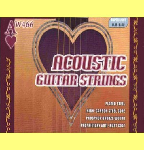 12 sets Acoustic Guitar Strings, 12 16 24 32 42 53, High Carbon Steel Core, Copper Coated on Phosphor Bronze, AW466