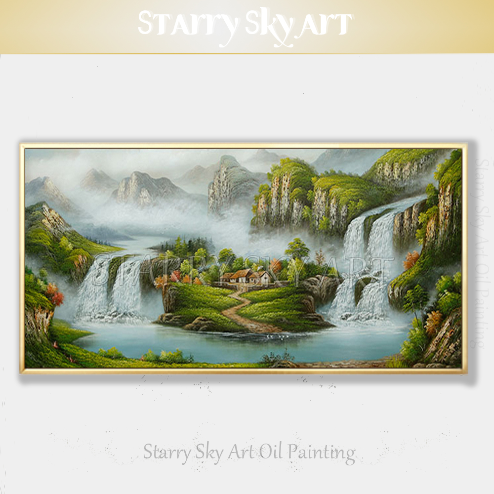 Excellent Artist Hand painted Traditional Chinese Feng Shui Oil Painting on Canvas Chinese Treasure Bowl Landscape Oil Painting - 1