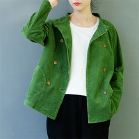 SCUWLINEN 2019 Women Spring Autumn Jackets Casual Solid Corduroy Short All match Female Jacket Outerwear Windbreaker S453