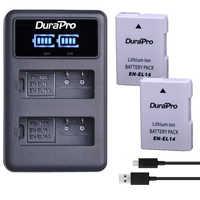 2 piezas EN-EL14 EN EL14 EL14A batería de iones de litio recargable + LED USB cargador Dual para Nikon ENEL14 d5300 d5200 d5100 d3100 d3200 P710