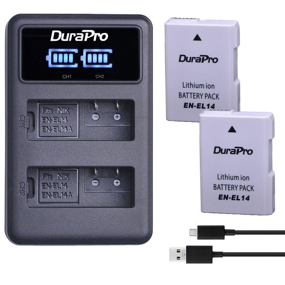 2 batteries Li-ion rechargeables EN-EL14 EN EL14 EL14A, avec double chargeur USB LED, pour Nikon ENEL14 d5300 d5200 d5100 d3100 d3200 P710