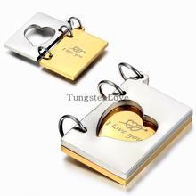 """Moda """"te amo"""" con apertura de carta de amor colgante de collar para Las Mujeres de Los Hombres colgantes de Acero Inoxidable Regalo mujer Oro Plata Color"""